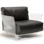 kartell poltrona pop in pelle nera outlet sconti